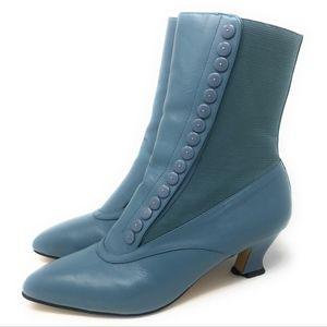 Vintage Blue Spool Heel Victorian Button Boots 9B